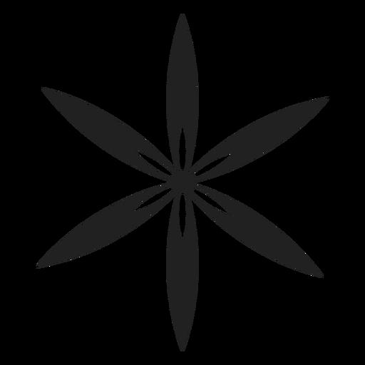 Icono de la flor de seis pétalos finos Transparent PNG