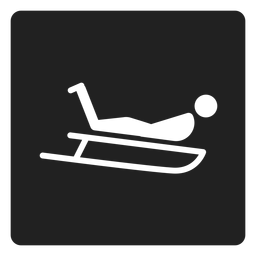 Sled riding square icon
