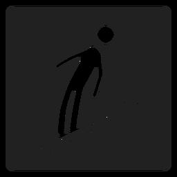 Ícone quadrado de esqui de neve