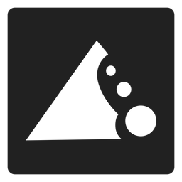 Icono cuadrado de la erosión del suelo.