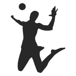 Spiking volleyball player silhouette