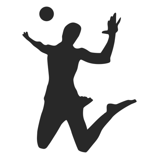 Spiking volleyball player silhouette Transparent PNG