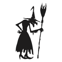 Standing witch with a broomstick silhouette