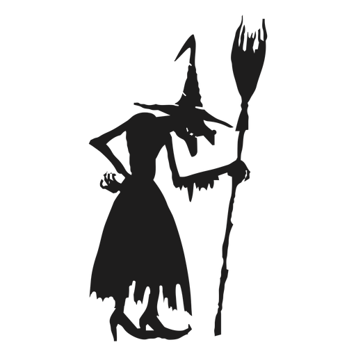 Standing witch with a broomstick silhouette Transparent PNG