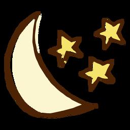 Ilustración de estrellas y luna icono