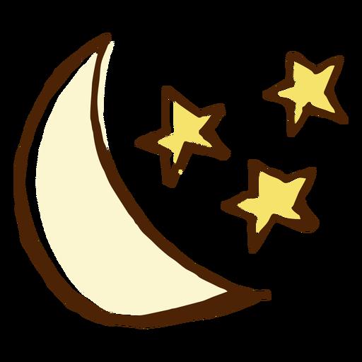 Ilustración de estrellas y luna icono Transparent PNG