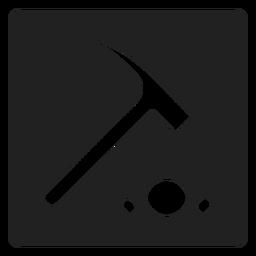 Ícone quadrado martelo de pedra