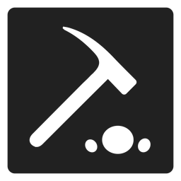 Stone hammer square icon