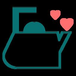 Icono de estilo de línea de amor de té