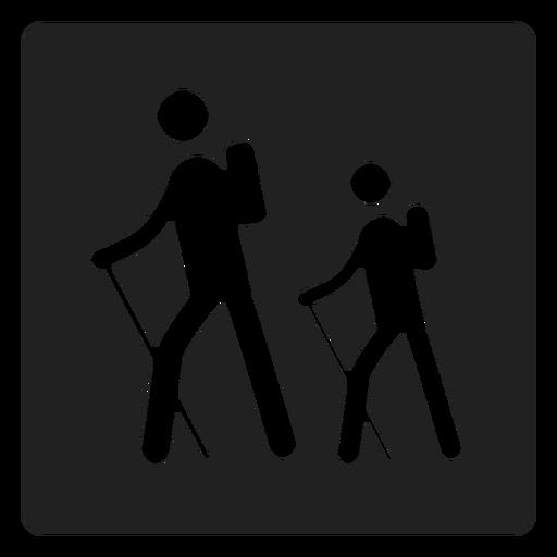 Icono cuadrado de trekking
