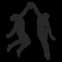 Volleyball, der Schattenbildvolleyball blockiert