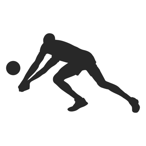 Volleyball digging position silhouette Transparent PNG