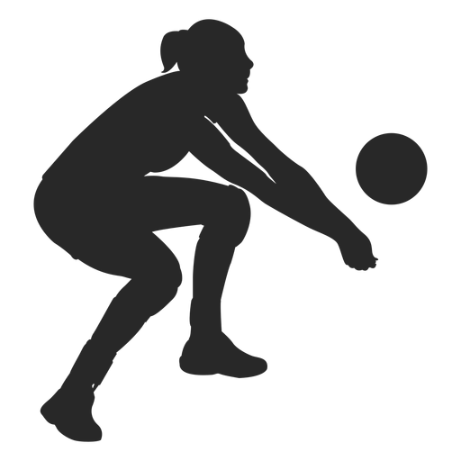 Volleyball digging silhouette