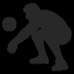 Posición de juego de voleibol silueta