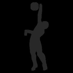 Jugador de voleibol bloque silueta