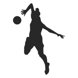 Volleyball player in attack position silhouette