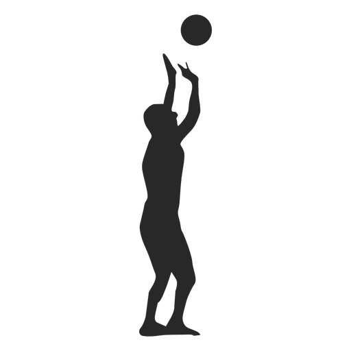 Volleyball player setting the ball silhouette