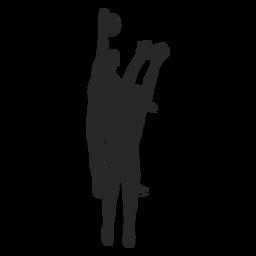 Jogadores de vôlei em silhueta de ação