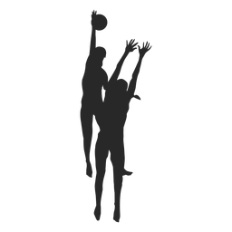 Volleyball players in action silhouette