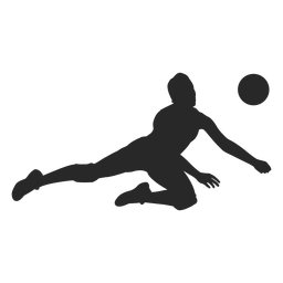 Volleyball defense position silhouette