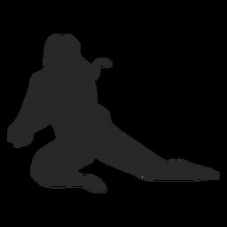Jogador de voleibol em silhueta de posição de escavação