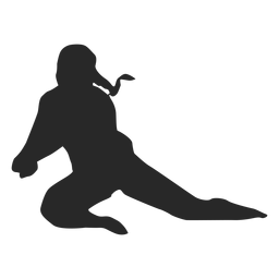 Volleyball player in dig position silhouette