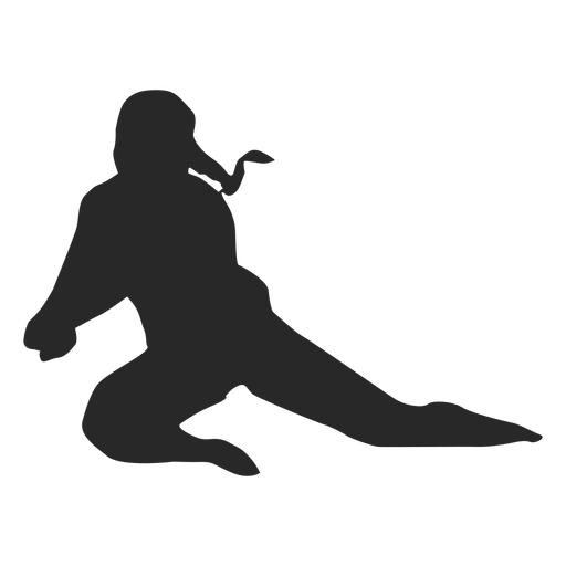 Volleyball player in dig position silhouette Transparent PNG