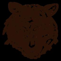 Icono dibujado mano del tigre salvaje