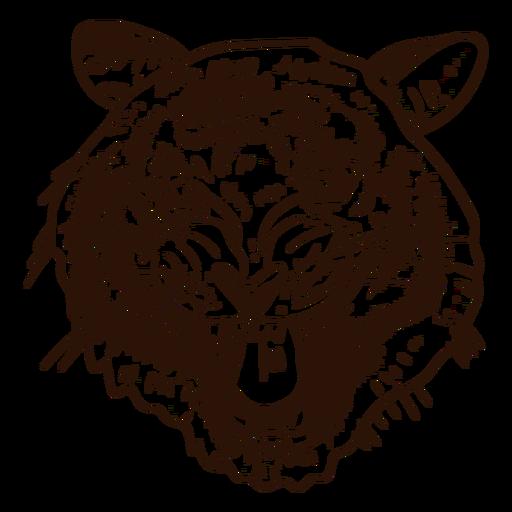 Icono dibujado mano del tigre salvaje Transparent PNG