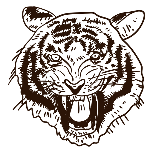Wild tiger hand drawn icon Transparent PNG
