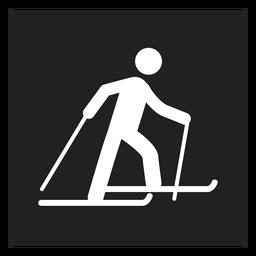 Winter ski square icon