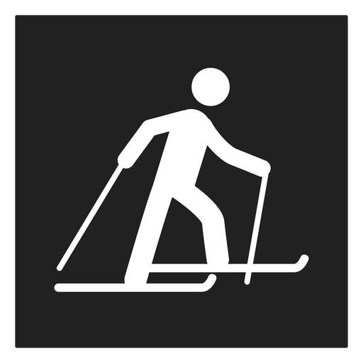 Ícone quadrado de esqui de inverno Transparent PNG