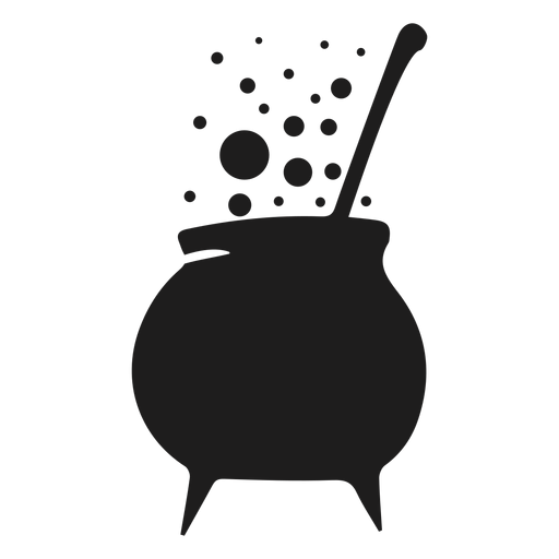 Witch cooking pot silhouette Transparent PNG