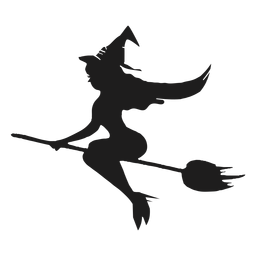 Bruxa em uma silhueta sexy de vassoura