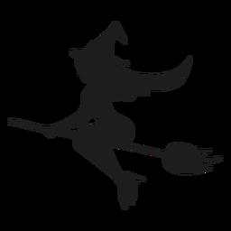 Hexe auf einem Besen sexy Silhouette