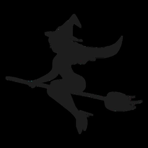 Bruja en una escoba silueta sexy Transparent PNG