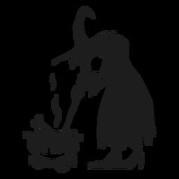 Silhueta de bruxa e caldeirão