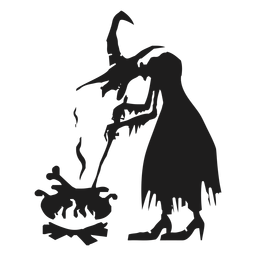 Witch and cauldron silhouette