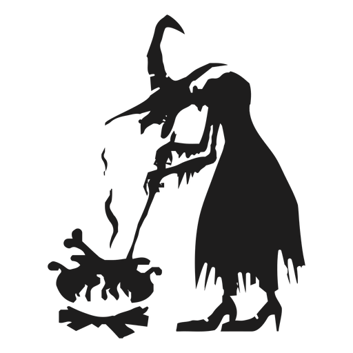 Witch and cauldron silhouette Transparent PNG