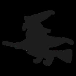 Hexe, die eine Besenschattenbild reitet