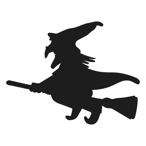 Witch riding a broom silhouette Transparent PNG
