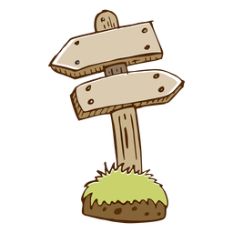 Ícone de seta de direção de madeira