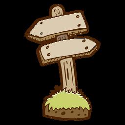 Icono de flecha de dirección de madera