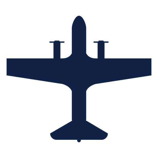 Airplane transport top view silhouette Transparent PNG