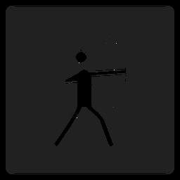 Arquero de icono cuadrado de tiro con arco