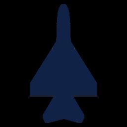 Silhueta de vista superior de avião de ataque