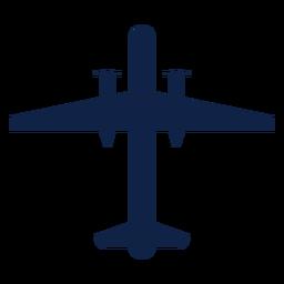 Silueta de vista superior de avión bombardero