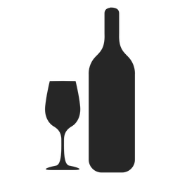 Icono plano de botella y vidrio