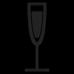 Ícone plana de taça de champanhe