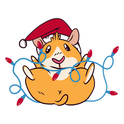 Christmas lights guinea pig cartoon
